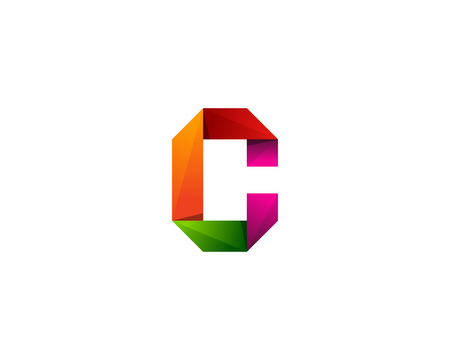 Colorful Ribbon Letter C Icon Logo Design Element