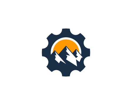 Gear Icon Logo Design Element Иллюстрация