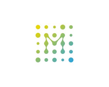 文字 M ドット アイコン ロゴのデザイン要素  イラスト・ベクター素材