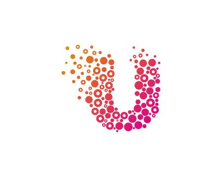 Particle Letter U Icon Logo Design Element Illustration