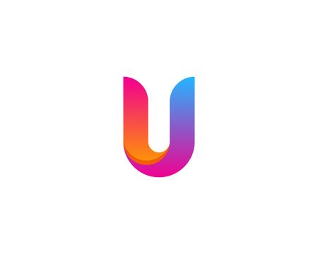 Letter U Icon Logo Design Element Vettoriali