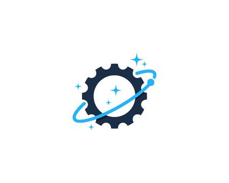 Versnelling pictogram met lineaire as concept illustratie voor Logo ontwerpelement