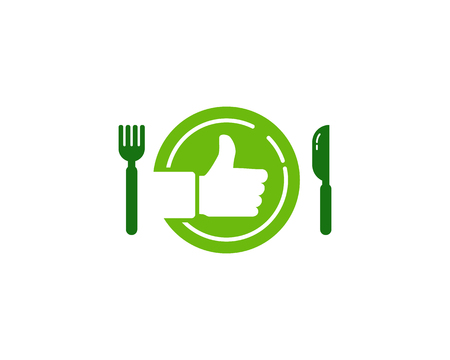 Fork and knife with plate ad approve sign in the center design concept for food Icon Logo Design Element Vectores