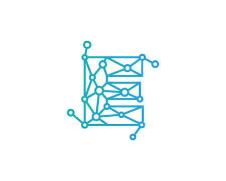문자 E 연결 도트 네트워크 아이콘 로고 디자인 요소 일러스트