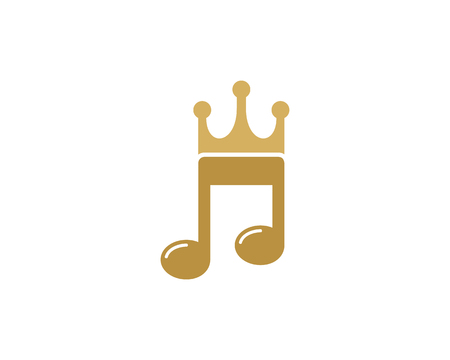 Music note with crown logo design Illustration