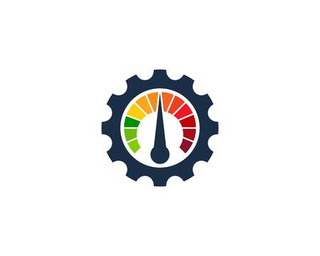 Gear mit Meter Icon Logo Design Element Standard-Bild - 80672709