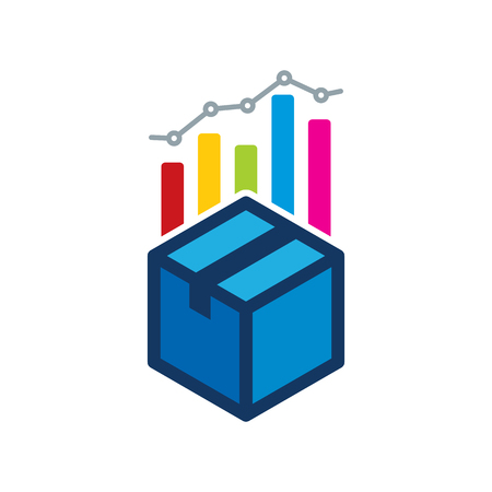 Box Analytic Logo Icon Design  イラスト・ベクター素材