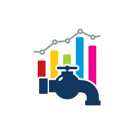 Plumbing Analytic Logo Icon Design  イラスト・ベクター素材