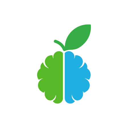 Fruit Brain Logo Icon Design Illustration
