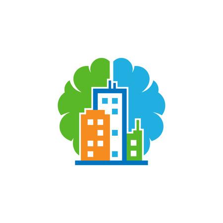 Town Brain Logo Icon Design Illustration