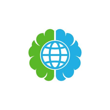 Globe Brain Logo Icon Design Illustration