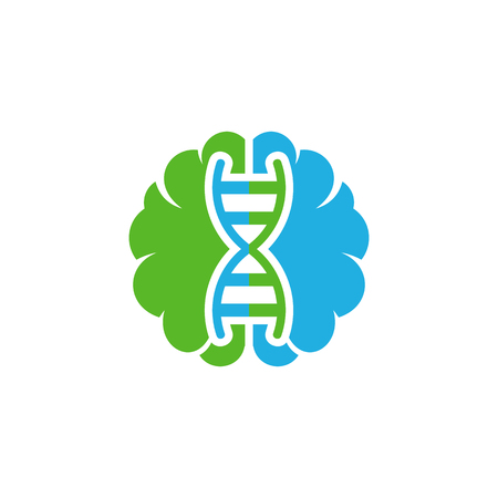 Dna Brain Logo Icon Design Vettoriali