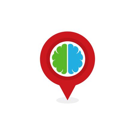 Pin Brain Logo Icon Design