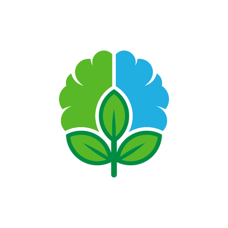 Nature Brain Logo Icon Design Illustration