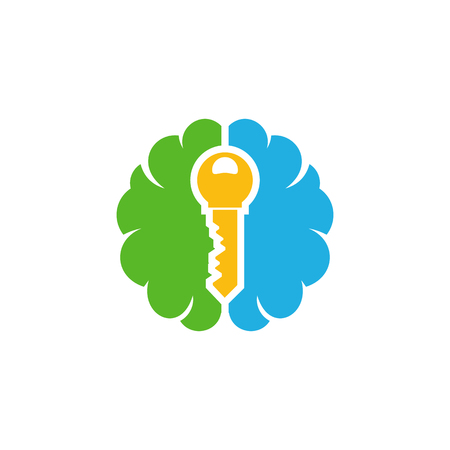 Key Brain Logo Icon Design Ilustrace