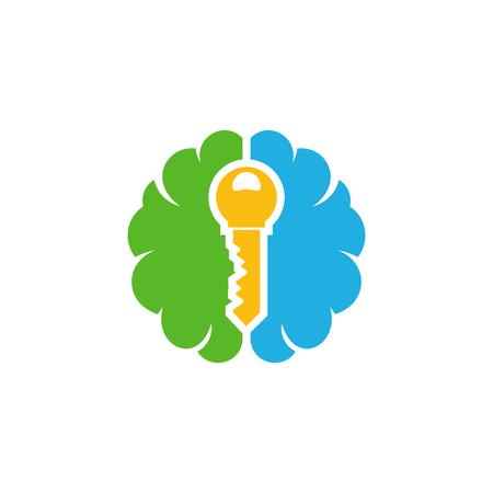 Key Brain Logo Icon Design Illustration
