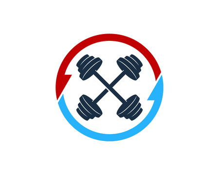Transfer Barbell Logo Icon Design Illustration