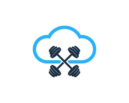 Sky Barbell Logo Icon Design