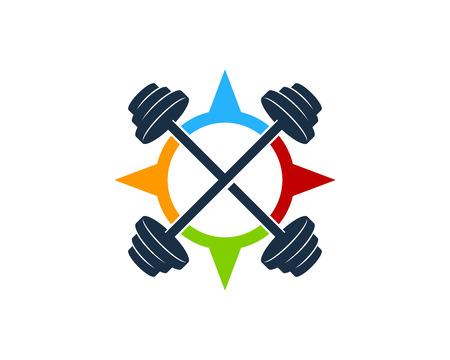 Adventure Barbell Logo Icon Design Illustration