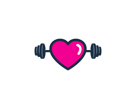 Love Barbell Logo Icon Design