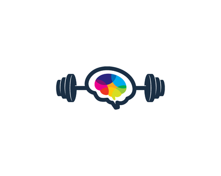 Brain Barbell Logo Icon Design