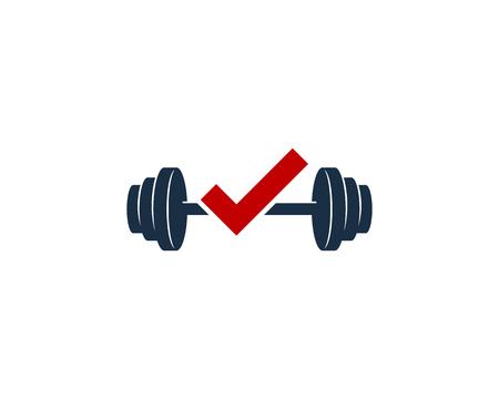 Check Barbell Logo Icon Design Illustration