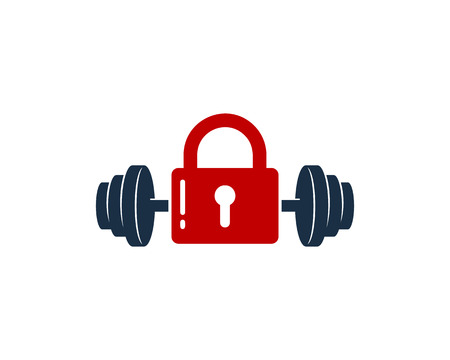 Lock Barbell Logo Icon Design
