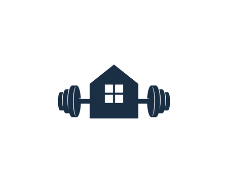 Home Barbell Logo Icon Design 向量圖像