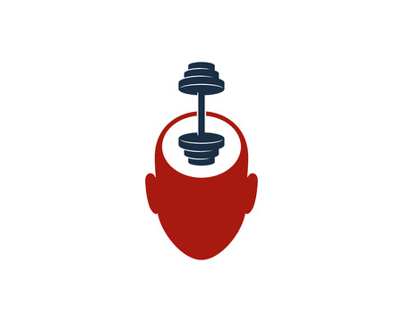 Head Barbell Logo Icon Design
