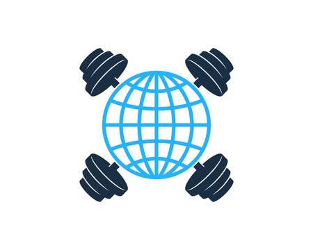 Globe Barbell Logo Icon Design