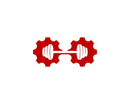 Gear Barbell Icon Design illustration on white background.