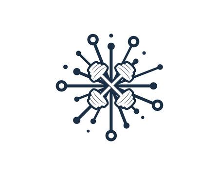 Digital Barbell Icon Design illustration on white background.