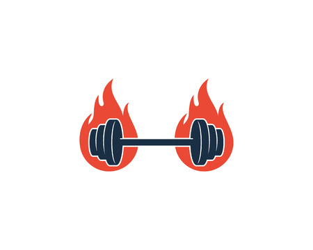 Fire Barbell Icon Design illustration on white background.