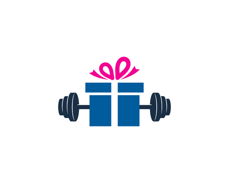 Gift Barbell Icon Design Illustration