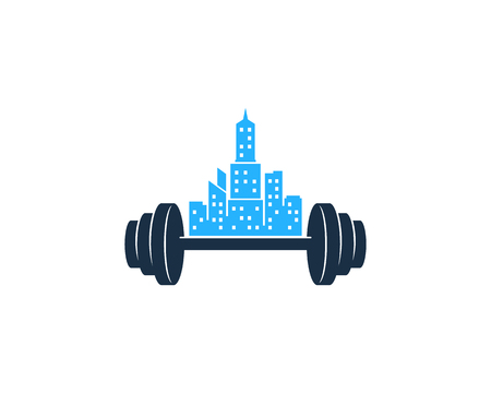Town Barbell Logo Icon Design