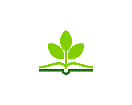 Plant Book Logo Icon Design Vettoriali