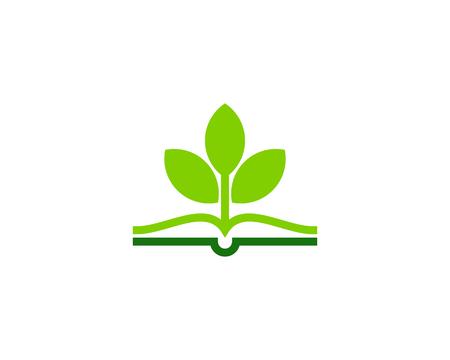 Plant boek embleemontwerp pictogram