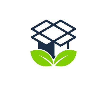 Nature Box Logo Icon Design Stock Illustratie