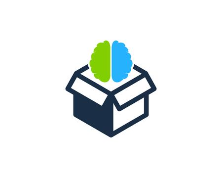 Brain Box Logo Icon Design Illusztráció