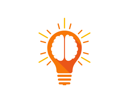 Bulb Brain Logo Icon Design Illusztráció