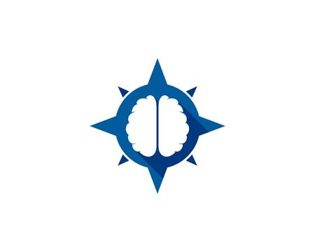 Direction Brain Logo Icon Design Vettoriali