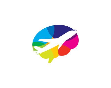 Travel Brain Logo Icon Design Archivio Fotografico - 102099179
