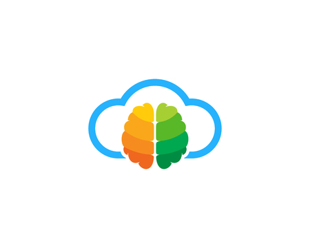 Cloud Brain Logo Icon Design