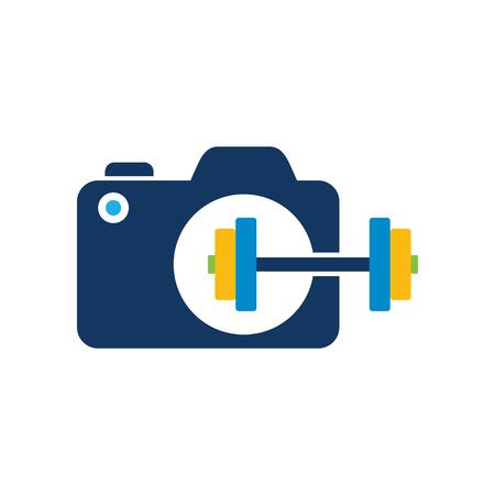 Barbell Camera Logo Icon Design Illustration