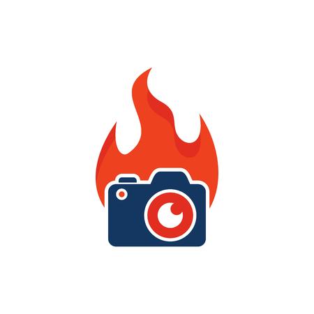 Flame Camera Logo Icon Design Illustration