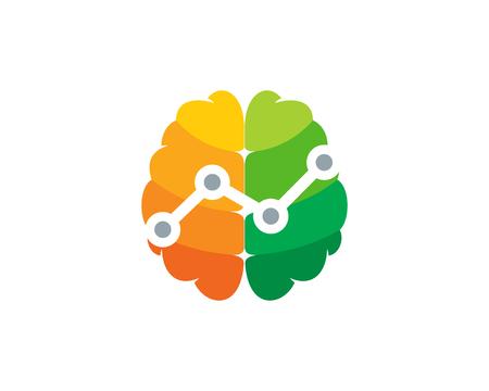 Digital Brain Logo Icon Design Illustration