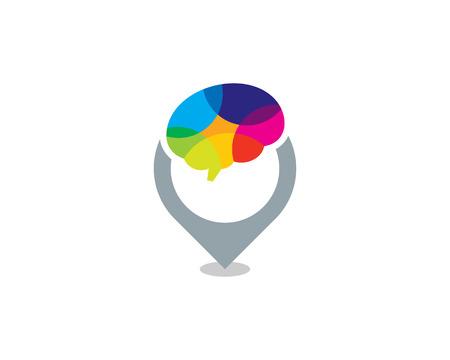 Pushpin Brain Logo Icon Design Archivio Fotografico - 100973154