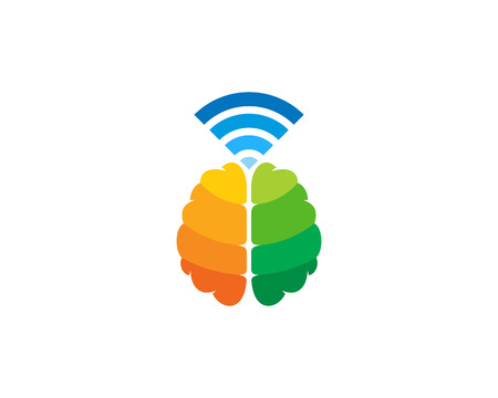 Wifi Brain Logo Icon Design