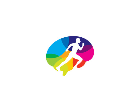 Run Brain Logo Icon Design Ilustração