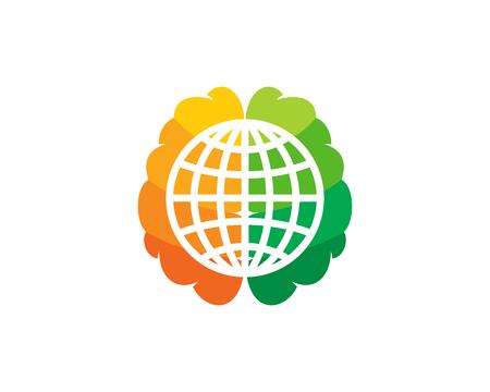 Globe Brain Logo Icon Design Vettoriali